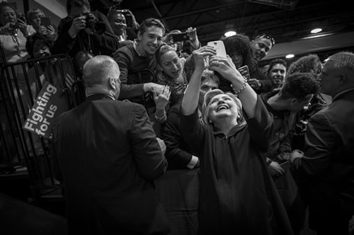 One of many in an endless stream of selfies Sec. Clinton took with supporters at a campaign event in New Jersey.