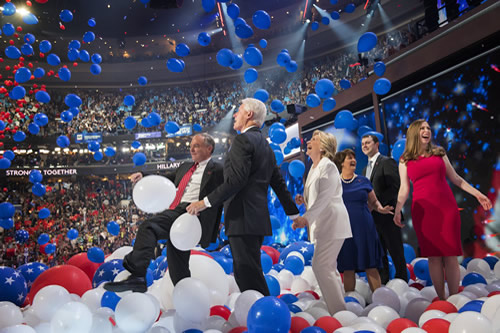 Celebrating Sec. Clinton's historic nomination as the first female Democratic nominee for president at the Democratic National Convention in Philadelphia.