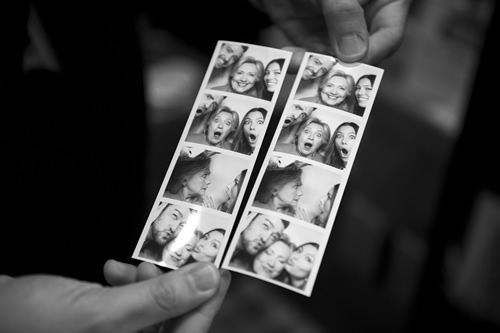 Sec. Clinton posed for a photo booth at the home of a couple of supporters, Justin Timberlake and his wife Jessica Biel. These prints show the results.